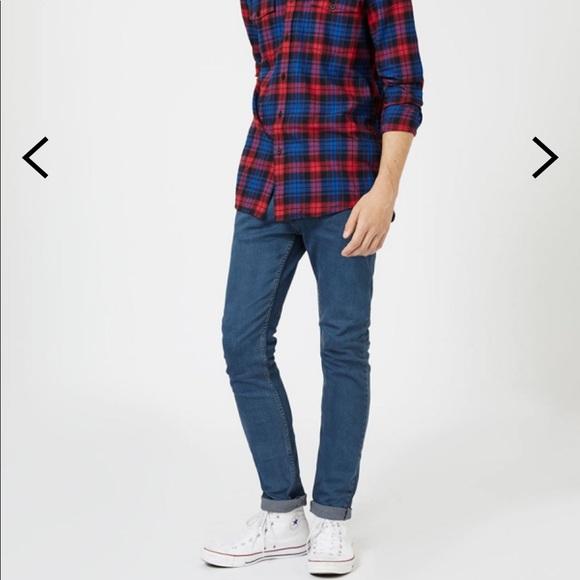 7977d511a3 Topman Smokey Blue Wash Stretch Skinny Jeans